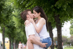 romantic couple kissing